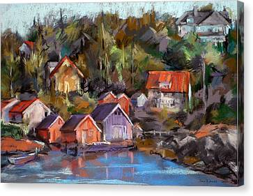 Coastal Village Canvas Print by Joan  Jones