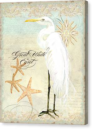 Coastal Waterways - Great White Egret 3 Canvas Print by Audrey Jeanne Roberts