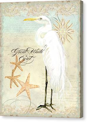 Coastal Waterways - Great White Egret 3 Canvas Print by Audrey Jeanne Roberts