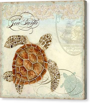 Coastal Waterways - Green Sea Turtle 2 Canvas Print by Audrey Jeanne Roberts