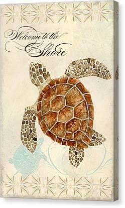 Coastal Waterways - Green Sea Turtle Canvas Print by Audrey Jeanne Roberts