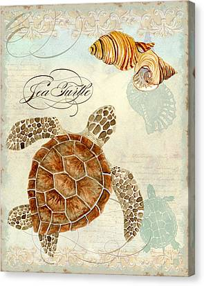 Coastal Waterways - Green Sea Turtle Rectangle 2 Canvas Print by Audrey Jeanne Roberts
