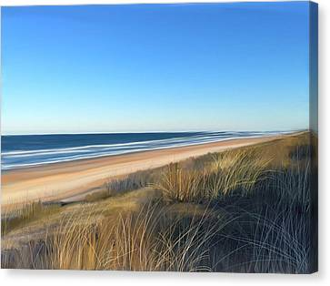 Coastline Sun And Shade Canvas Print by Anthony Fishburne