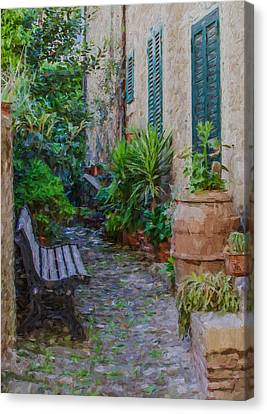Cobblestone Courtyard Of Tuscany Canvas Print by David Letts
