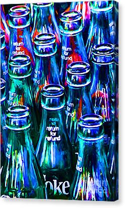 Coca-cola Coke Bottles - Return For Refund - Painterly - Blue Canvas Print by Wingsdomain Art and Photography