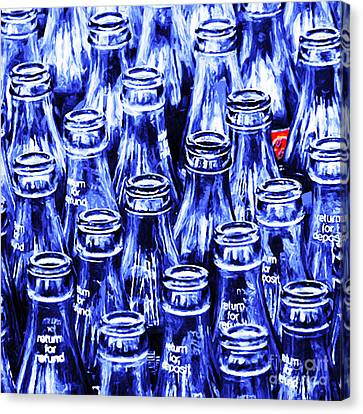 Coca-cola Coke Bottles - Return For Refund - Square - Painterly - Blue Canvas Print by Wingsdomain Art and Photography