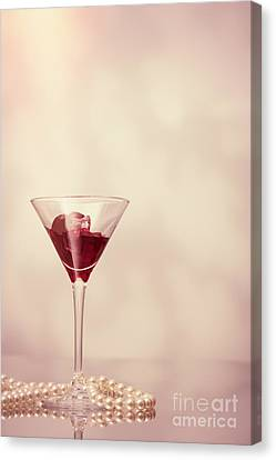 Cocktail Glass With Pearl Necklace Canvas Print by Amanda And Christopher Elwell