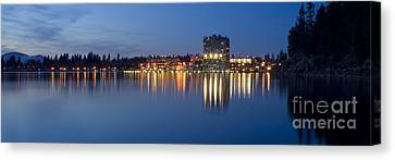 Coeur D Alene Night Skyline Canvas Print by Idaho Scenic Images Linda Lantzy