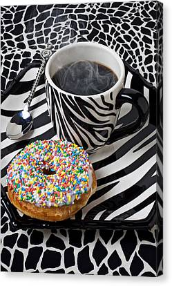 Coffee And Donut On Striped Plate Canvas Print by Garry Gay