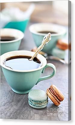 Coffee And Macarons Canvas Print by Stephanie Frey