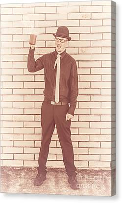 Coffee Drinking Guy Holding Cup Of Java Canvas Print by Jorgo Photography - Wall Art Gallery
