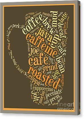 Coffee Lovers Word Cloud Canvas Print by Edward Fielding