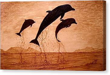 Coffee Painting Dolphins Playing Canvas Print by Georgeta  Blanaru