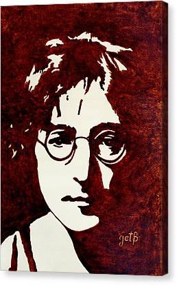 Coffee Painting John Lennon Canvas Print by Georgeta  Blanaru