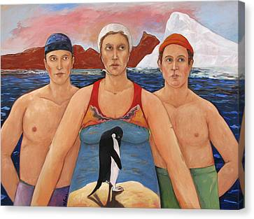 Cold Water Swimmers Canvas Print by Paula Wittner