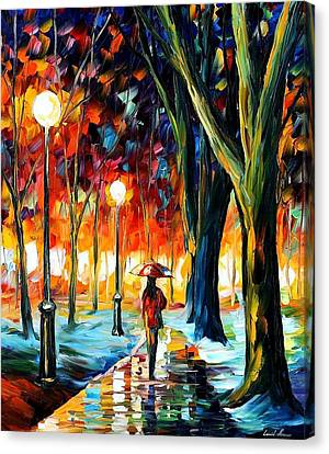 Cold Winter - Palette Knife Oil Painting On Canvas By Leonid Afremov Canvas Print by Leonid Afremov
