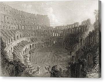Colisseum Rome Italy. Engraved By E Canvas Print by Vintage Design Pics