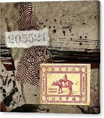 Collage Envelope Detail Monkey Water Buffalo Canvas Print by Carol Leigh