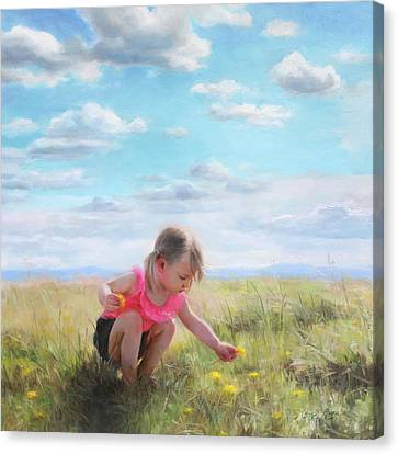 Collecting Dandelions Canvas Print by Anna Rose Bain