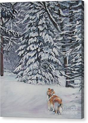 Collie Sable Christmas Tree Canvas Print by Lee Ann Shepard