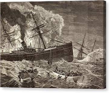 Collision And Sinking Of Spanish Canvas Print by Vintage Design Pics
