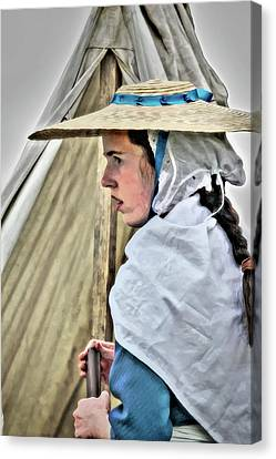 Colonial Girl In Army Camp Canvas Print by Randy Steele