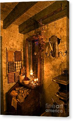 Colonial Kitchen Evening Canvas Print by John Stephens