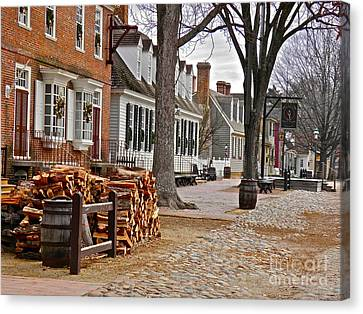 Colonial Street Scene Canvas Print by E Robert Dee