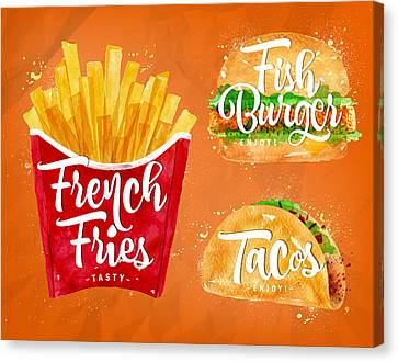 Color French Fries Canvas Print by Aloke Design