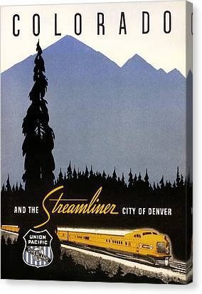 Colorado And The Streamliner City Of Denver - 1936 Canvas Print by Mountain Dreams
