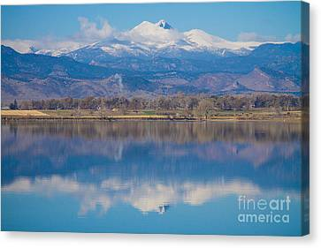 Colorado Longs Peak Circling Clouds Reflection Canvas Print by James BO  Insogna