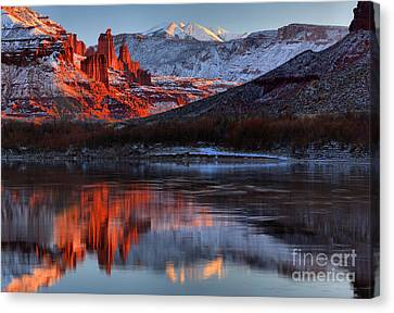 Colorado Red Tower Reflections Canvas Print by Adam Jewell