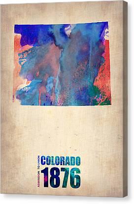 Colorado Watercolor Map Canvas Print by Naxart Studio