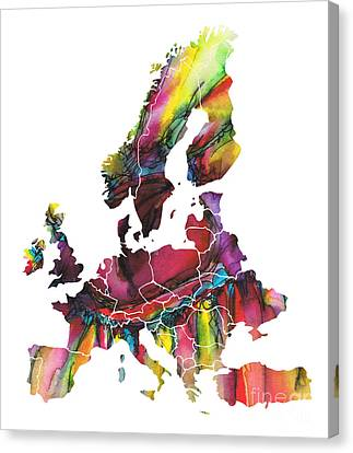 Colored Map Of The Europe Canvas Print by Justyna JBJart