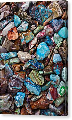 Colored Polished Stones Canvas Print by Garry Gay