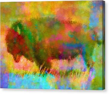 Colorful Abstract Bison Canvas Print by Dan Sproul