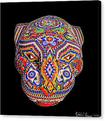 Colorful Ancient Mayan Jaguar Statue Head Canvas Print by Nicholas Romano