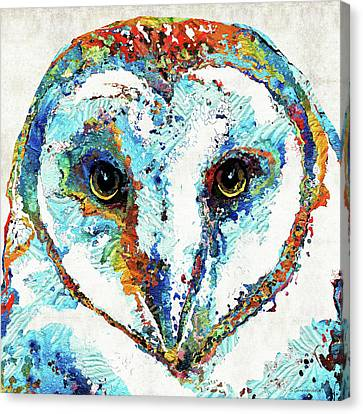Colorful Barn Owl Art - Sharon Cummings Canvas Print by Sharon Cummings