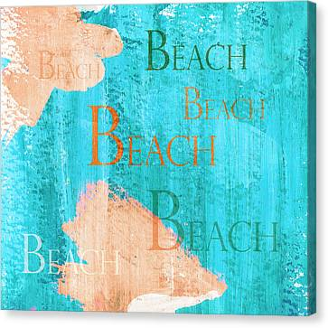 Colorful Beach Sign Canvas Print by Frank Tschakert