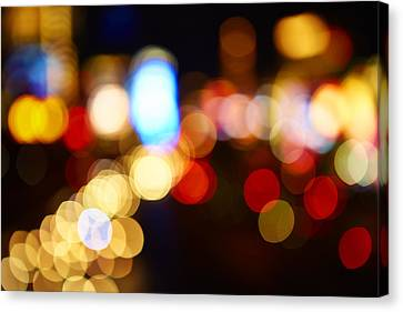 Colorful Bokeh Lights In The City - F Canvas Print by Gillham Studios