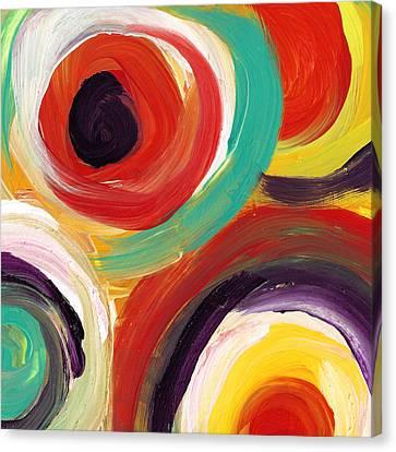 Colorful Bold Circles Square 2 Canvas Print by Amy Vangsgard