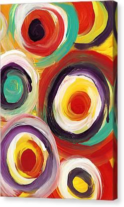 Colorful Bold Circles Vertical Canvas Print by Amy Vangsgard