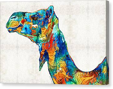 Colorful Camel Art By Sharon Cummings Canvas Print by Sharon Cummings