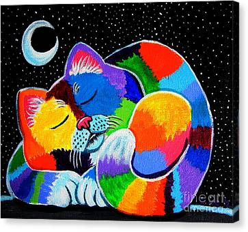 Colorful Cat In The Moonlight Canvas Print by Nick Gustafson