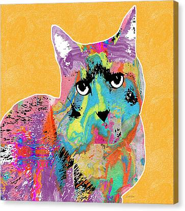 Colorful Cat With An Attitude- Art By Linda Woods Canvas Print by Linda Woods