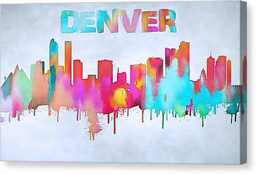 Colorful Denver Skyline Silhouette Canvas Print by Dan Sproul