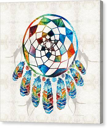 Colorful Dream Catcher By Sharon Cummings Canvas Print by Sharon Cummings