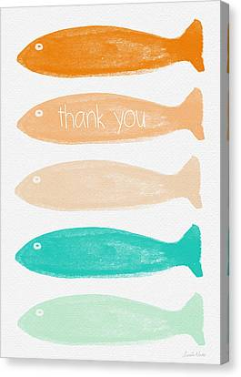 Colorful Fish Thank You Card Canvas Print by Linda Woods