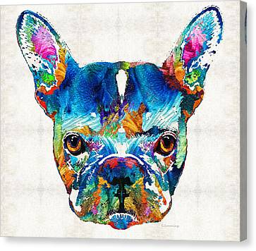 Colorful French Bulldog Dog Art By Sharon Cummings Canvas Print by Sharon Cummings