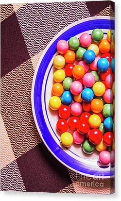 Colorful Gumballs On Plate Canvas Print by Jorgo Photography - Wall Art Gallery